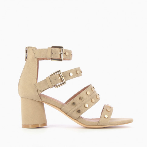 Beige sandals with studded straps
