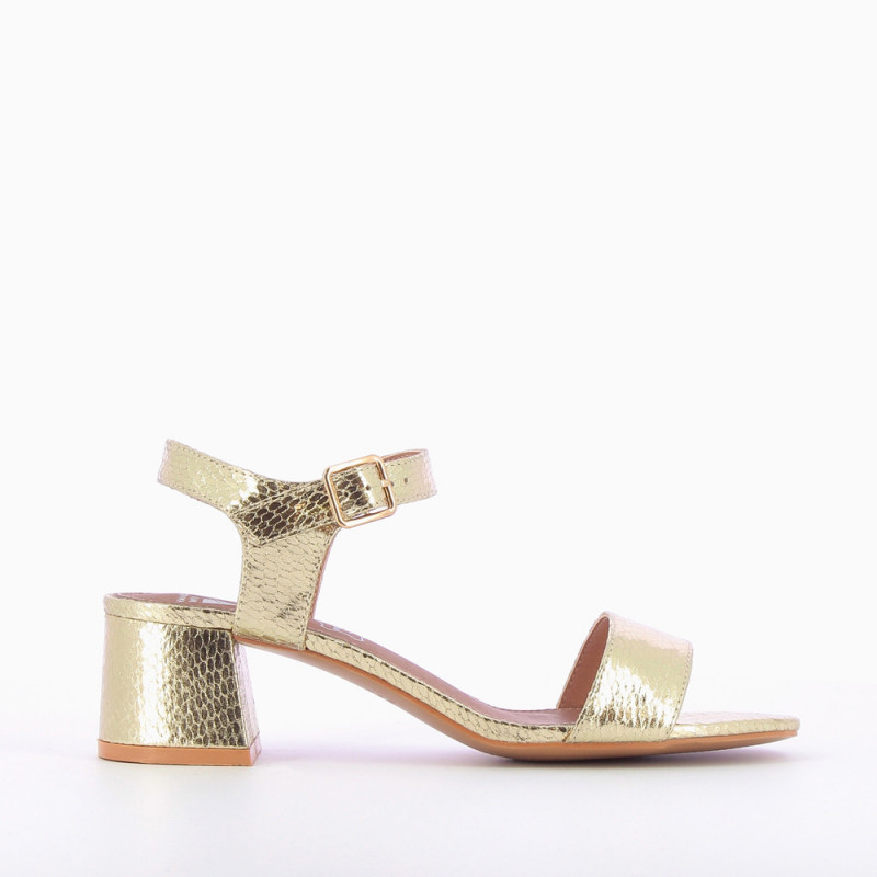 3c9c89c8c835 Gold sandals with thick low heel - Vanessa Wu Store