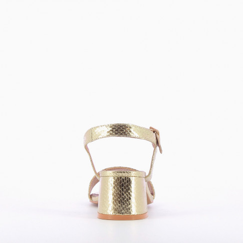 Gold sandals with thick low heel