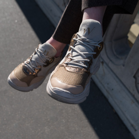 Beige and bronze platform sneakers