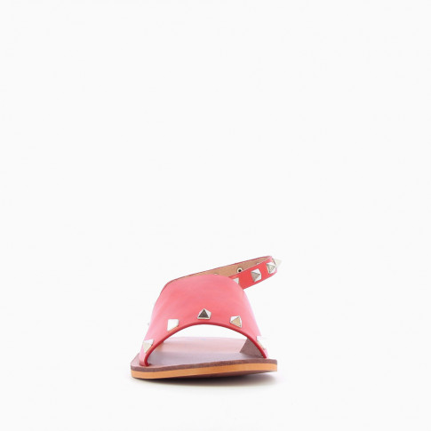 Red sandals with pyramidal studs
