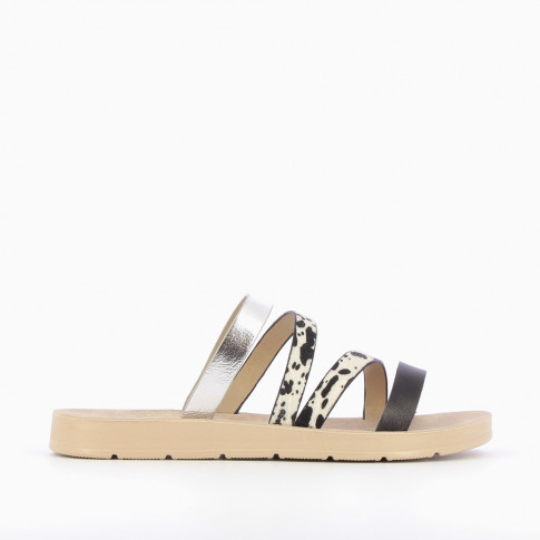 Black lightweight mules with leopard strap