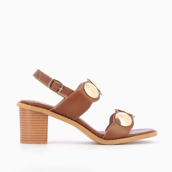 Camel sandals with heel and large studs