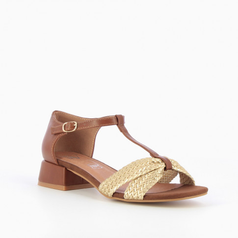 Camel sandals with gold braided straps