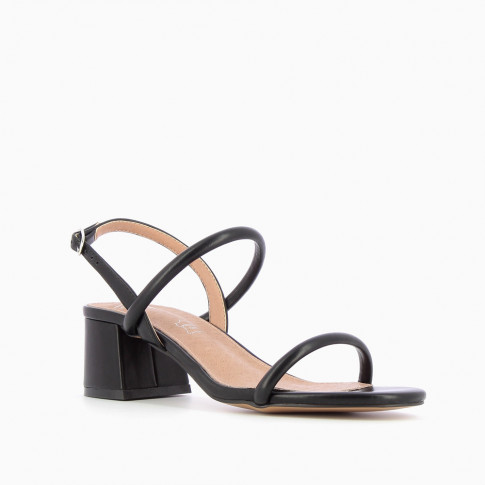 Black minimalist sandals with heel
