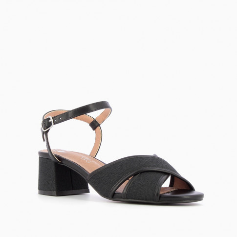 Black canvas sandals with heel