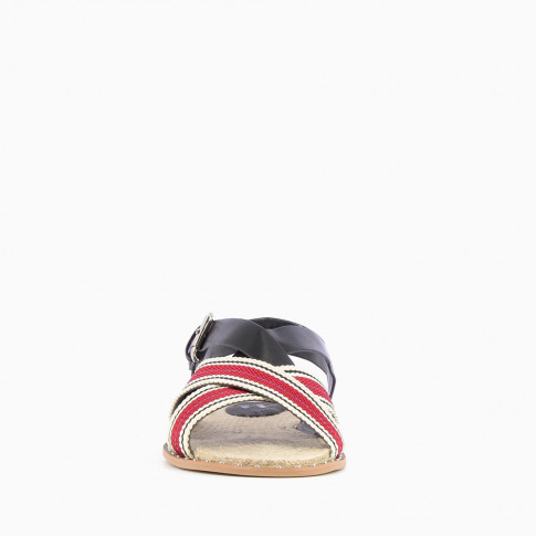 Black and red sandals with tennis stripes