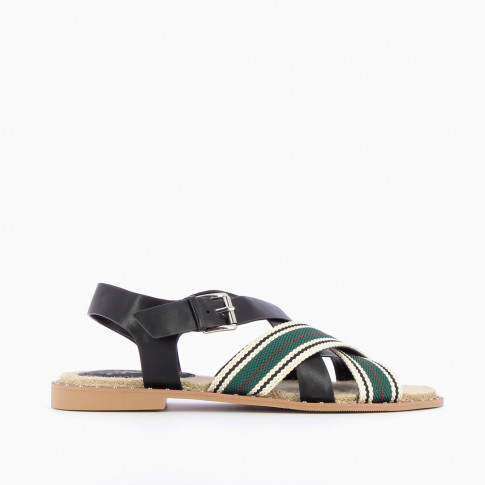 Black and green sandals with tennis stripes