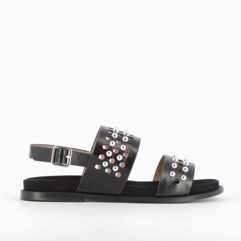 Awled and studded black sandals