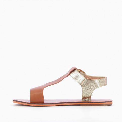 Camel and gold bi-material flat sandals