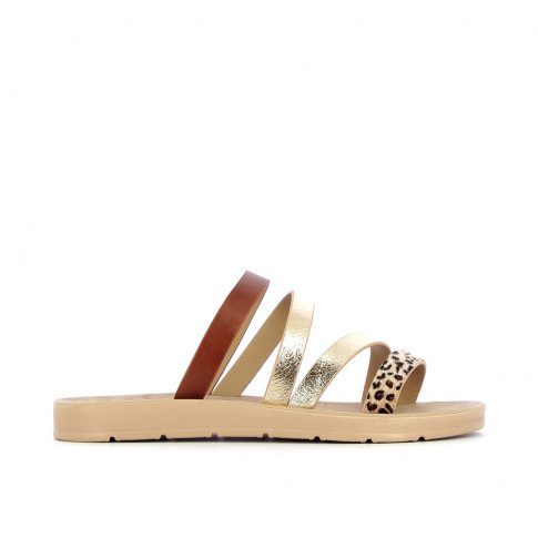 Camel lightweight mules with gold strap