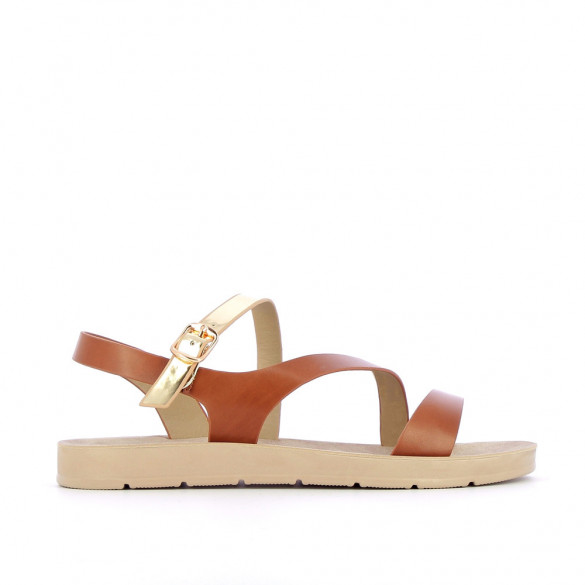 Camel lightweight sandals with gold strap