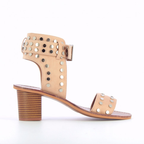 Pink studded suedette sandals with large strap