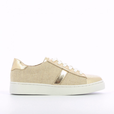 Beige and gold sneakers with burlap effect