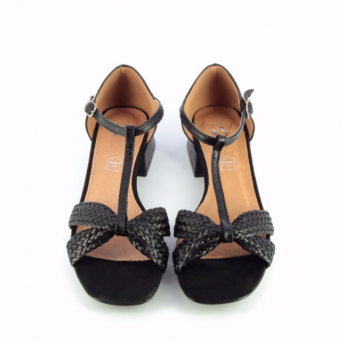 Black sandals with braided straps