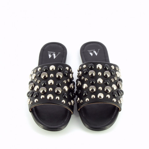 Black mules with silver and black cabochons