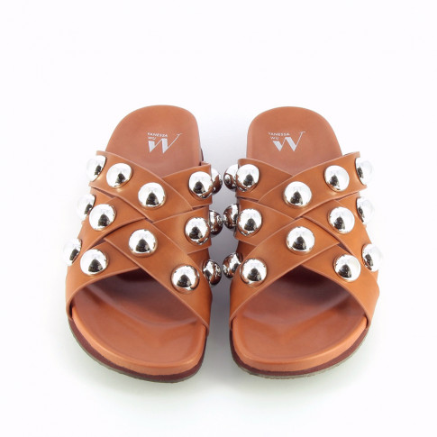 Camel mules with crossed straps and cabochons