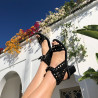 Black studded suedette sandals with large strap