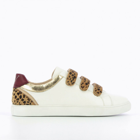 White and gold sneakers with leopard velcro
