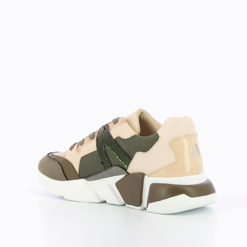 Army green and nude sneakers with graphic sole