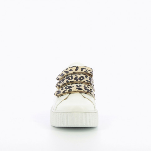 White sneakers with lightning cutout and leopard-print velcro