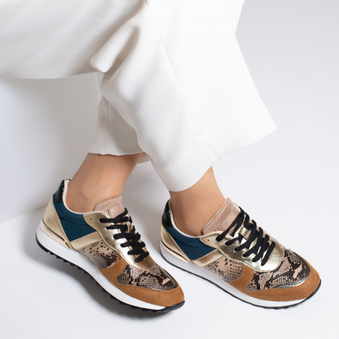 Camel and gold sneakers with snakeskin yoke