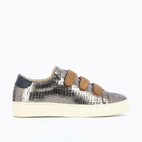 Charcoal crackled effect sneakers with taupe velcro