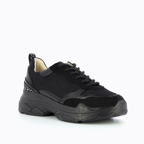 Black sneakers with large sole