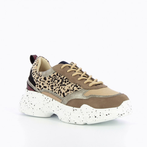Leopard sneakers with large galaxy-print sole