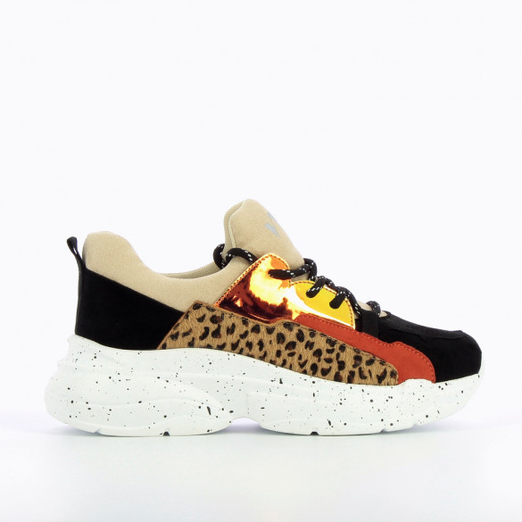 Sneakers with leopard detailing and large galaxy-print sole