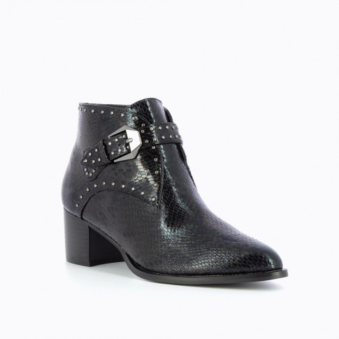 Black snakeskin ankle boots with western heel