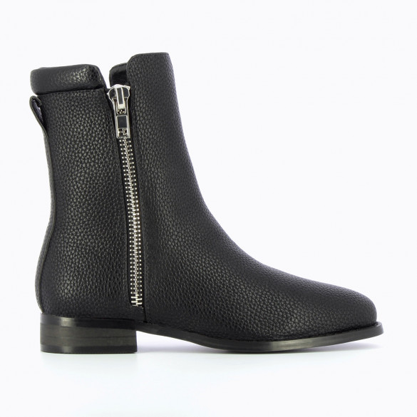 Black textured leather ankle boots with zipper