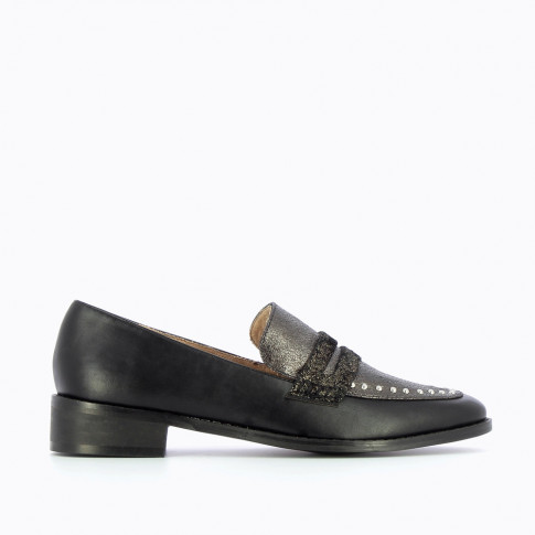 Charcoal and black loafers