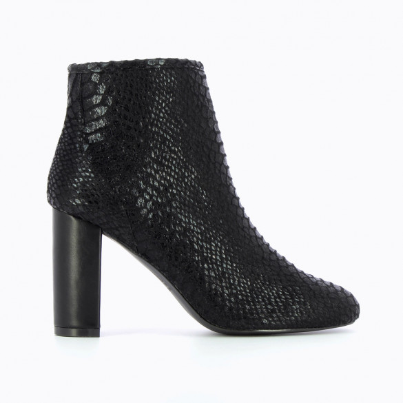 Black python effect ankle boots with heel