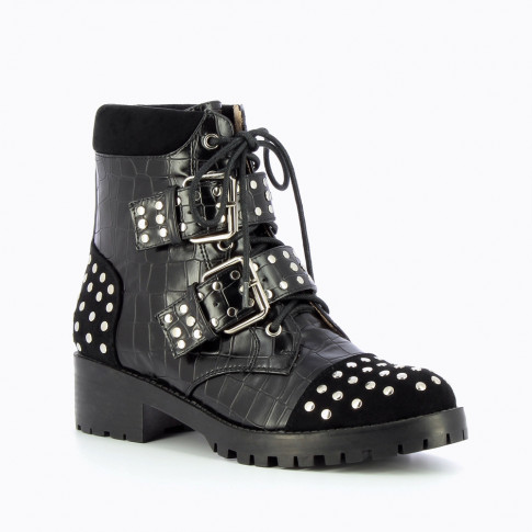 Studded black ranger boots with crocodile leather effect