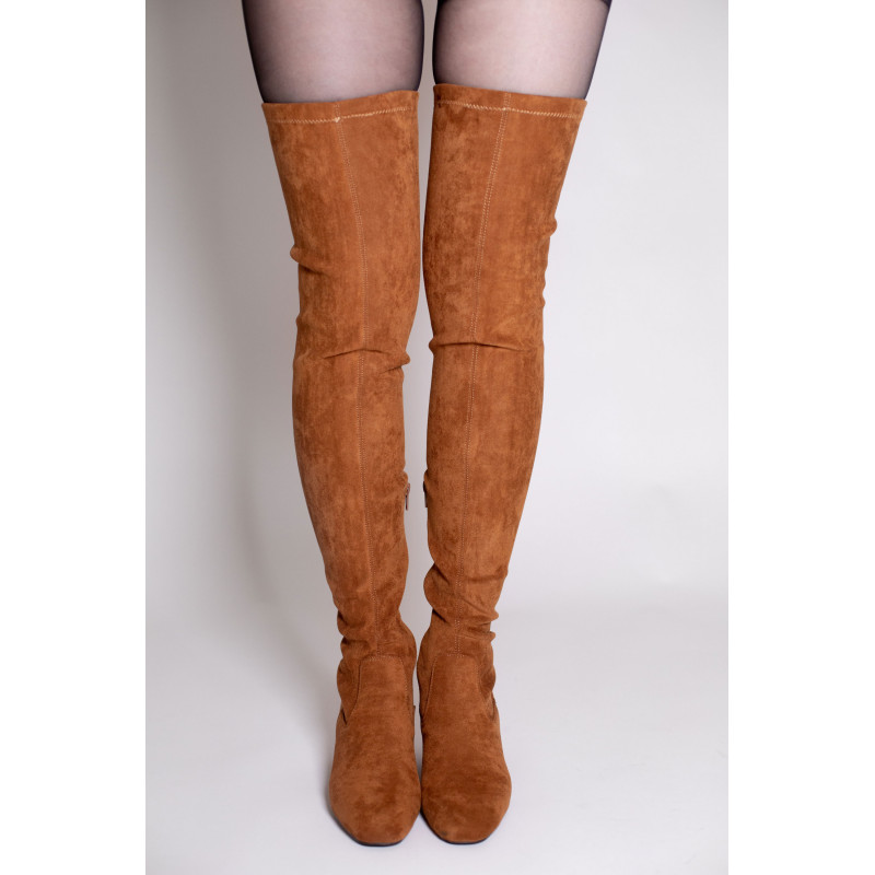 outlet store sale wholesale sales really comfortable Camel suedette thigh-highs - VANESSA WU STORE