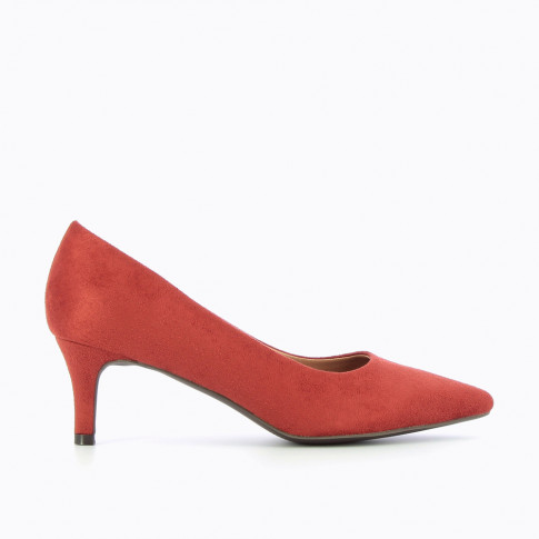 Brick-red suedette pumps