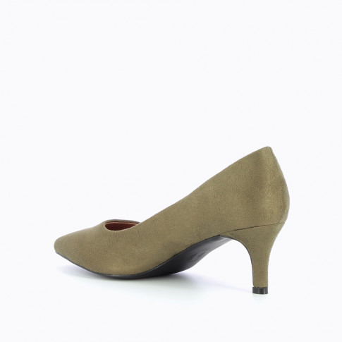 Army green suedette pumps