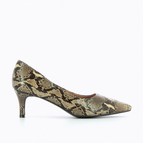 Beige pumps with snakeskin effect