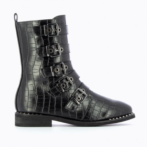 Black biker boots with buckles and crocodile leather effect