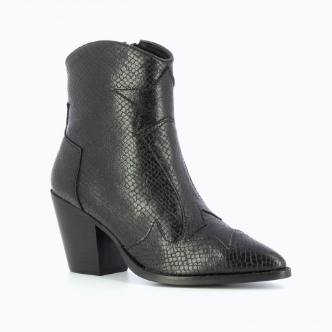 Black heeled ankle boots with star-shaped cuts