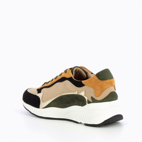 Black and khaki sneakers with flame cutouts