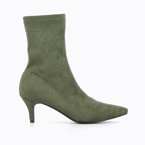 Army green suedette sock-boots