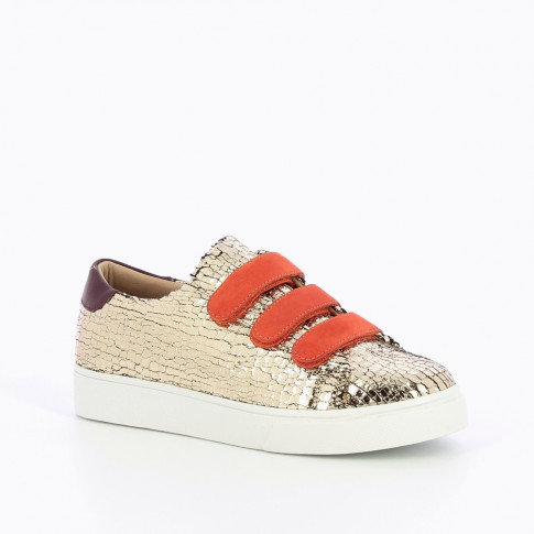 Gold crackled effect sneakers with orange velcro