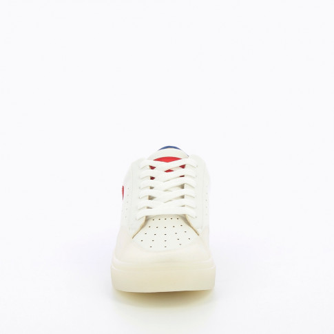 White and red monogram sneakers