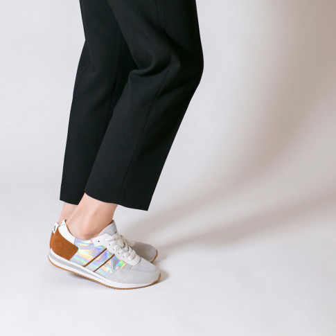 Gray and brown sneakers with side stripe