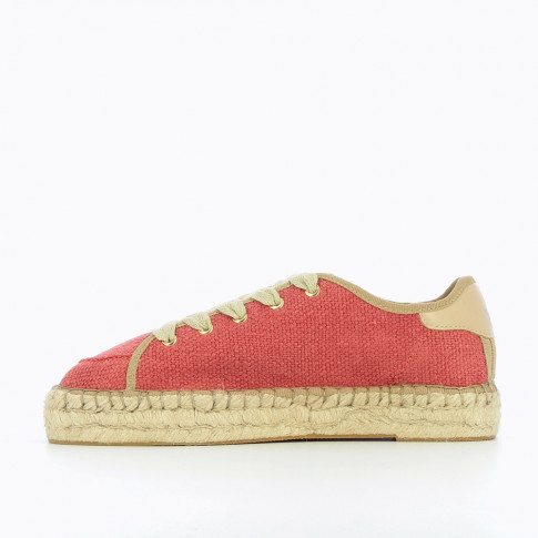 Red woven sneakers with espadrille sole