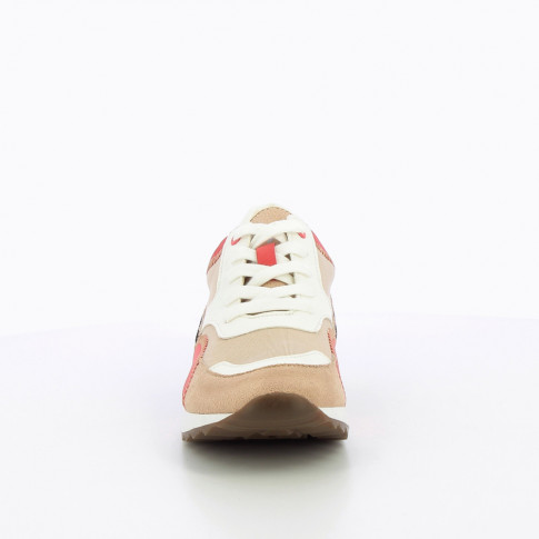 Beige and raspberry sneakers with overstitch