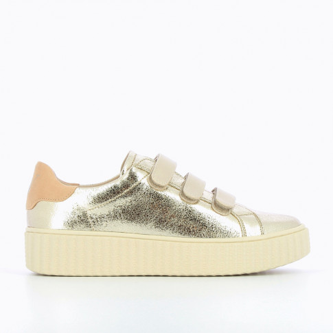 Gold and nude sneakers with creeper sole