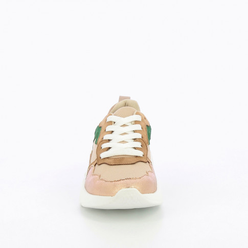 Dusty pink mesh sneakers with rose gold detailing
